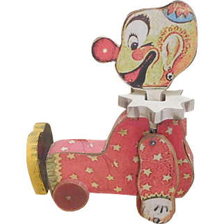 Pull Toy, Clown,Vintage