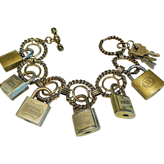 Bracelet, Charm, Vintage Luggage Locks