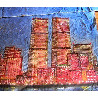 Canvas Painting of New York Skyline before Twin Towers Fell, 80's