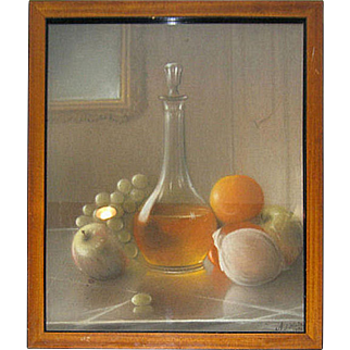 Antique American Trompe L'Oeil Pastel Still Life Painting by Nathan J. Hale