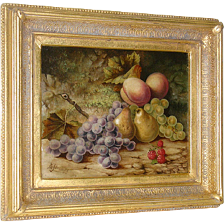 Antique English Fruit Still Life Oil on Canvas by P.W. Johnson
