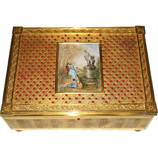 Antique Gilt Metal Jewelry Chest