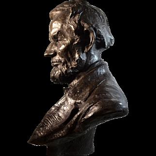 Abraham Lincoln Bronze Bust Sculpture by Hans Muller (Austrian, 1873-1937)