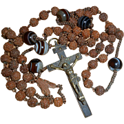 French 19th Century Banded Agate Hand Carved Rosary