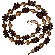 Art Deco Perpignon Garnet & Rock Crystal Necklace with Sterling Silver Clasp