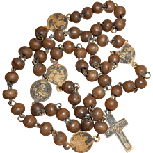 French Early 19th Century Marian Rosary with Hand Carved Boxwood Beads