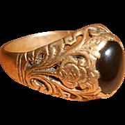 19th Century Vermeil & Black Onyx Thistle Ring