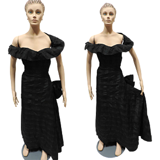 1950s Dress Sorelle Fontana Roma Black Formal Vintage Designer Couture Frock Size S/XS