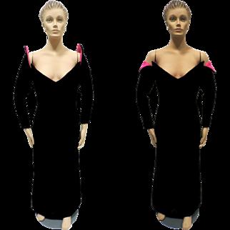Victor Costa Formal Dress Black Velvet Hot Pink Evening Frock Size 10 Vintage