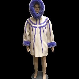 Linda Lundstrom Wool Coat White Purple Faux Fur Trim