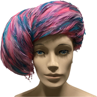 Jack McConnell Feather Hat Pink Turquoise