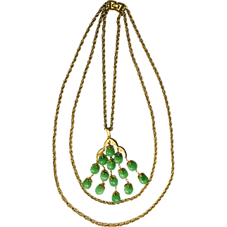 Crown Trifari Necklace Book Piece Green Waterfall Vintage Jewelry