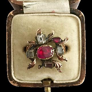 A Stunning Ruby & Table Cut Diamond Flower Head Ring Circa 1760's