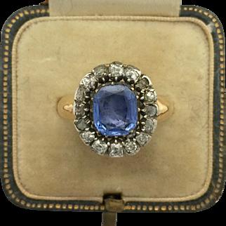 A Magnificent Georgian 3ct Ceylon Sapphire & Old Cut Diamond Cluster Ring 1800s