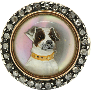 A Magnificent Essex Crystal Terrier & Rose Cut Diamond Ring Circa 1800's