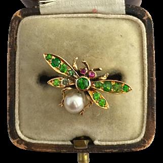 A Wonderful Edwardian Green Demantoid Garnet, Ruby & Natural Pearl Dragonfly Ring 1900's
