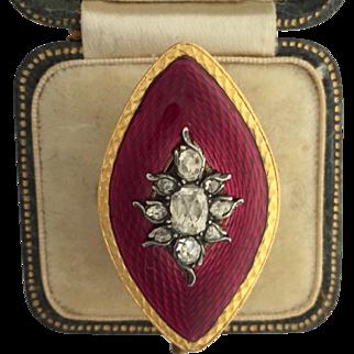 A Stunning Georgian Rose Cut Diamond and Enamel Ring Circa 1790's