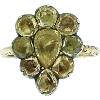 A Stunning 10ct Golden Yellow Topaz Pear Shaped Cluster Ring Circa 1760's