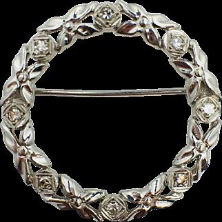 14k White Gold Brilliant Single Cut Diamond Wreath Brooch