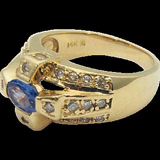 14k Yellow Gold Knockout Tanzanite and Diamond Ring