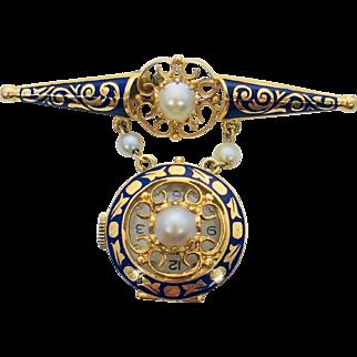 14k Yellow Gold and Blue enamel Geneva nurses watch pin
