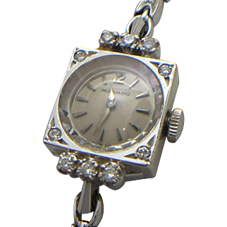 14k white gold vintage diamond Movado ladies wrist watch