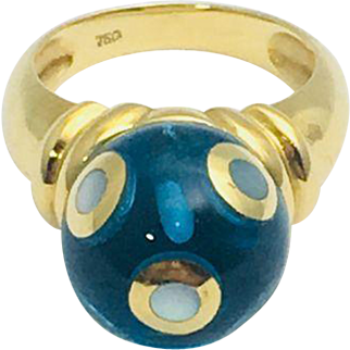 Fun and Funky blue sphere with plates of mother of pearl Yellow gold ring