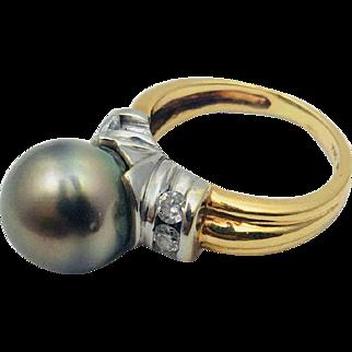 Uplifting 14k two tone Tahitian Pearl and Diamond Ring