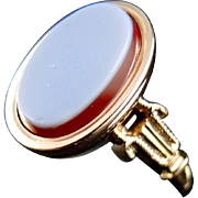 14Kt rose gold Poison ring with agate - 19th century
