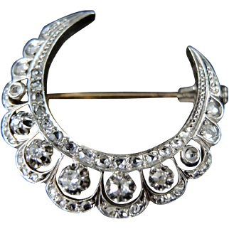 Gold And Silver Victorian Crescent Moon Brooch- 19th Century