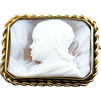 French Gold Shell Cameo Brooch - Colonial Exhibition, Paris, 1931