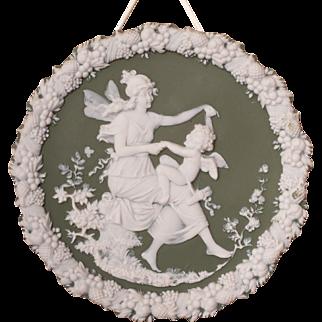 Green Jasperware Maiden Fairy & Cherub Plaque