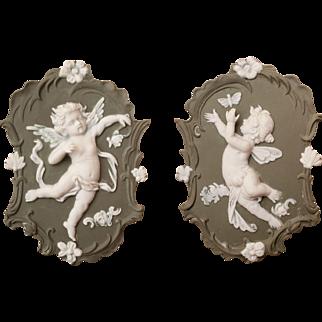 Pair of Matching Jasperware Wall Plaques Cherub Fairy