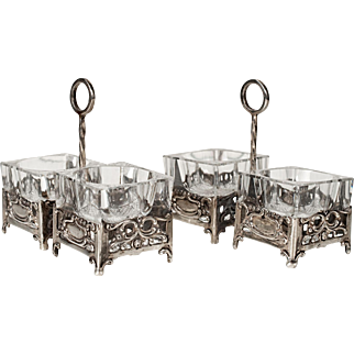 German Pair (2) Double Open Salt Service Caddy Cut Glass Inserts in 800 Silver