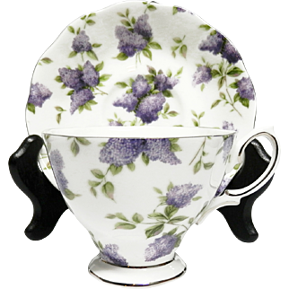 Royal Albert Footed Teacup and Saucer in Lilac Lane Pattern Platinum Trimmed Fine China