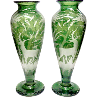 Bohemian Glass Intaglio Stag Forest Scene Vase Pair Unsigned