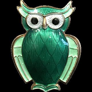 David Anderson Sterling & Guilloche Enamel Emerald Green Owl Pin