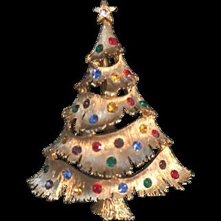 Vintage Christmas Tree Jonette Pin Signed JJ