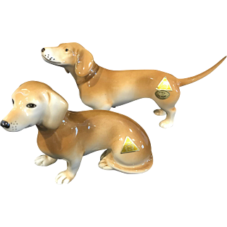 Royal Dux - Pair of Dachshund Dog Figurines