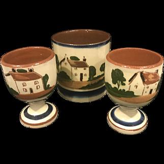 Watcombe England Torquay Pottery Egg Cups - Lot of 3