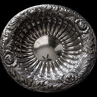 """2 Repousse Sterling Silver Bon Bon Dishes 6 3/8"""" 7.6 Oz"""