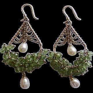 """9K Gold Dangle Earrings Peridots & Pearl 2 3/4"""" 14.7Gr"""