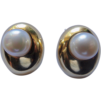 """18K Gold & Cultured Pearl Ear Clips Dome Shaped Forley Ny 1""""X 3/4"""" 19.5 Grams"""