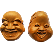 Vintage Chinese Face Masks, hand-carved wood