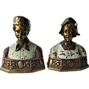 Pompeian Bronze Co. 'Dutch' Bookends ~c.1920's