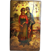 Russian Palekh Lacquer Box ~Peasant Girls ~Artist Signed, 1981