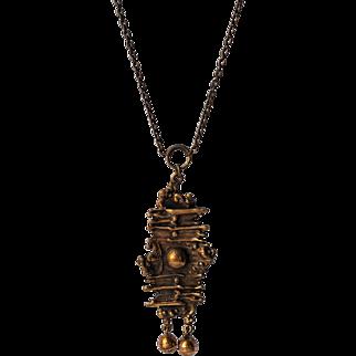 Finnish 'SARPANEVA' Bronze Modernist Brutalist Pendant Necklace ~c.1960's