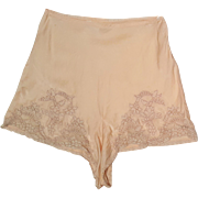 1940's Pink Peach Appliqued Ecru Tap Pants