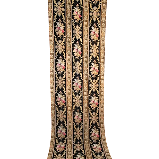 Pair French antique long floral panels Napoléon III with roses c. 1860