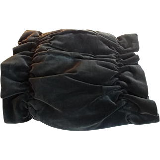 French antique hand winter muff in velvet 19th century